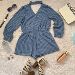 Chiffon striped  long sleeve romper in blue